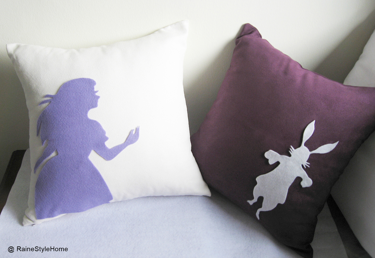 Alice And Rabbit In Wonderland White and Plum Pillow Covers Set.Girls Room Decor