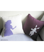 Alice And Rabbit In Wonderland White and Plum Pillow Covers Set.Girls Ro... - $53.00