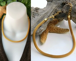 Vintage Mesh Choker Necklace Coil Rope Gold Tone 18 Inches - $16.95