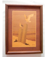 Vintage Inlaid Wood Wall hanging Artwork by artist Nelson - $125.00