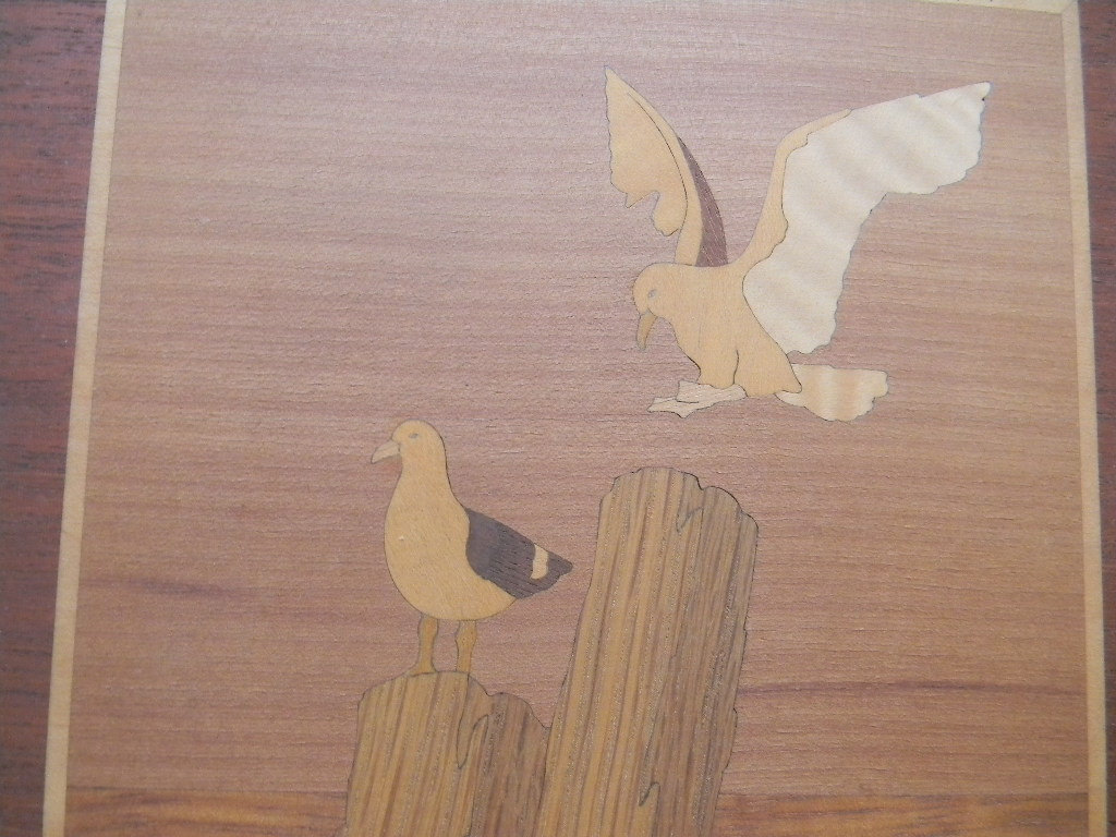 Vintage Inlaid Wood Wall hanging Artwork by artist Nelson
