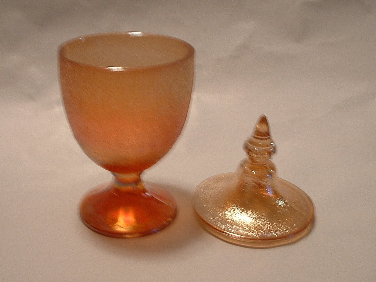 Vintage Carnival Glass Lidded Candy Dish