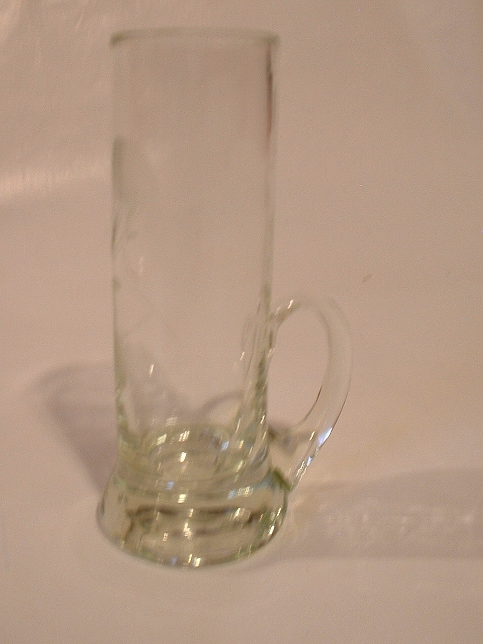 Vintage Tall Etched Shot Glass in Perfect Condition