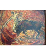 Vintage Oil on Canvas  Matador and Bull Painting by Listed Artist Edith ... - $600.00