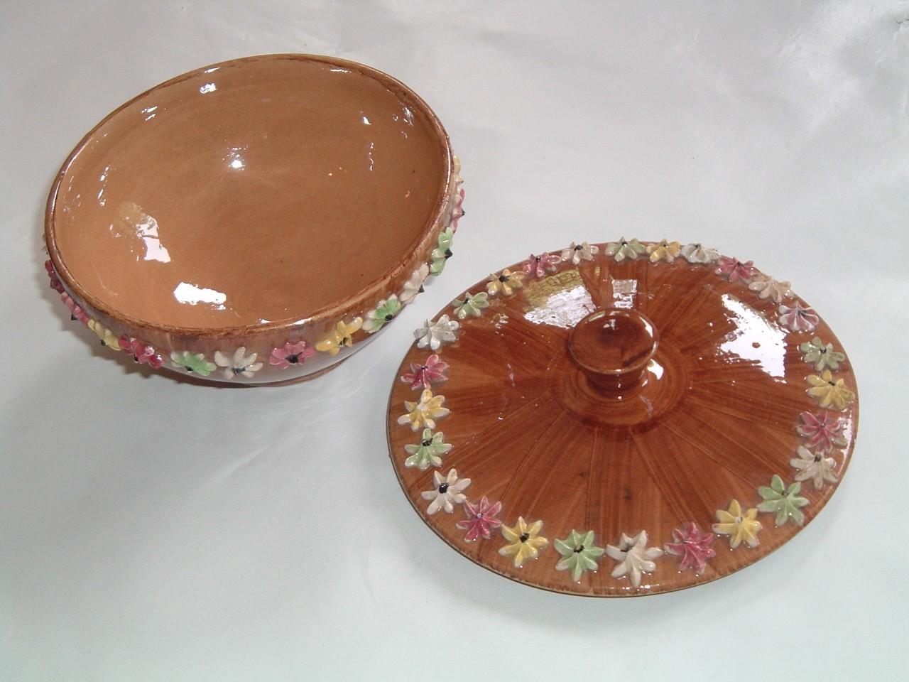 Vintage Ornate Lidded Pottery Bowl