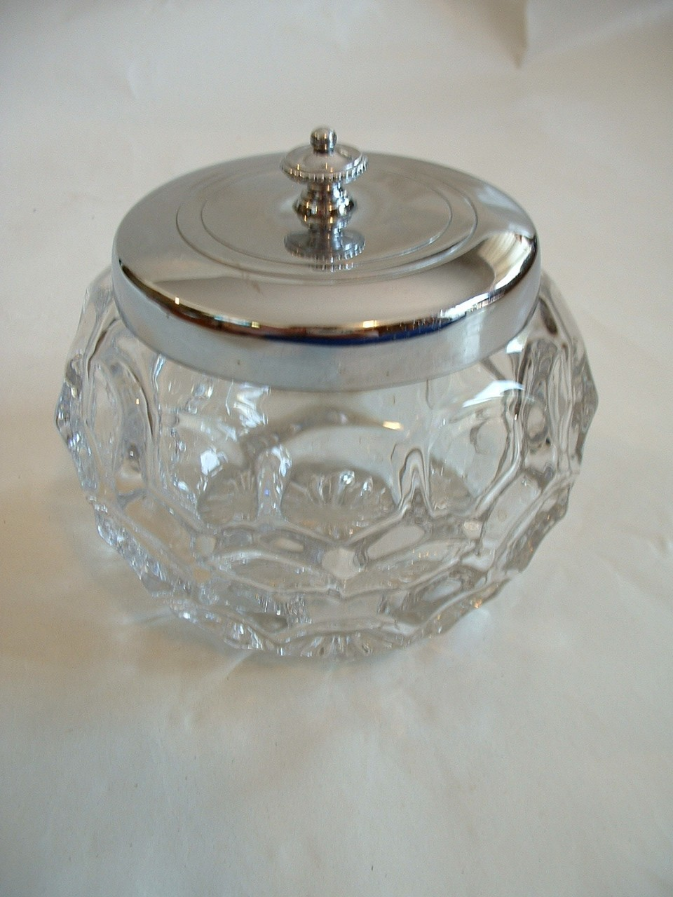 Vintage Glass Jar or Vanity Dresser Trinket Box or Container