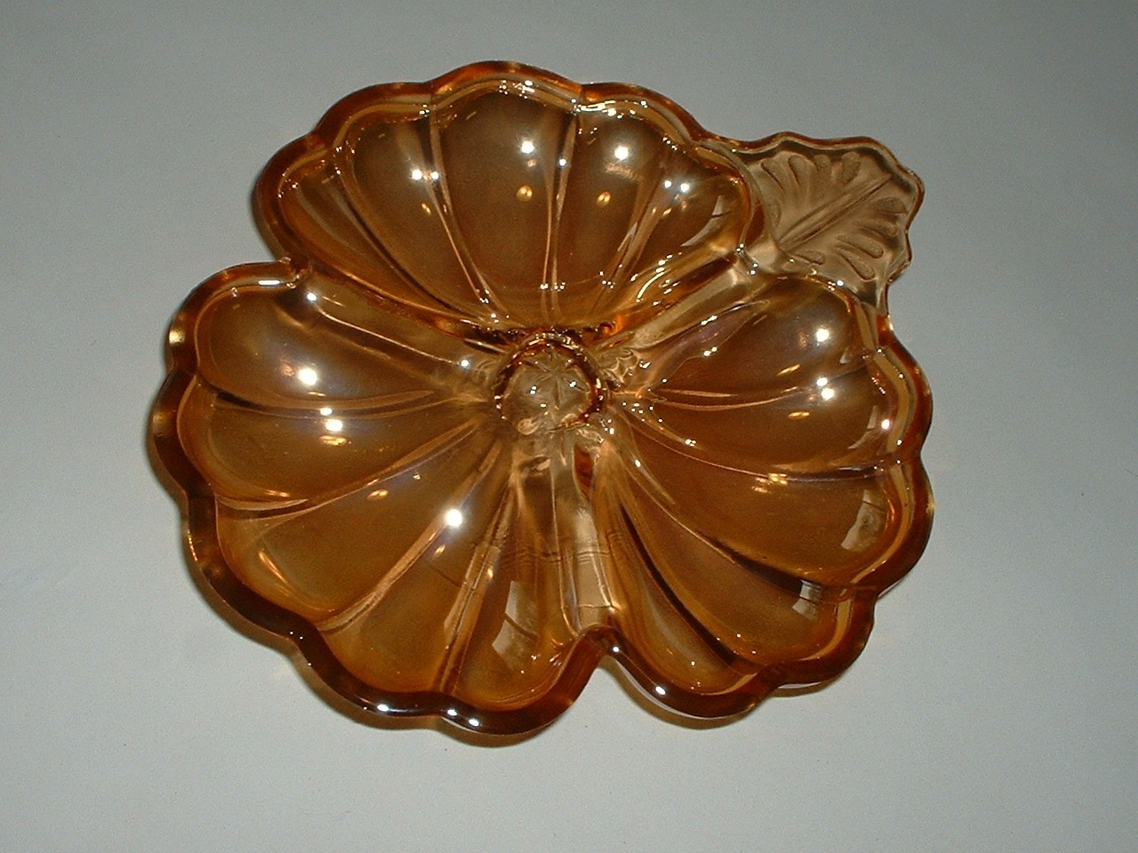 Gorgeous Vintage Three Section Carnival Glass Candy Dish