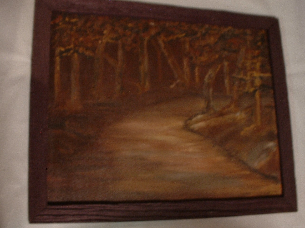 Vintage Signed Oil Painting Scary Impressionistic Forest