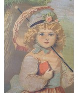 Vintage Victorian Chromolithograph of Young Girl with Parasol - $100.00
