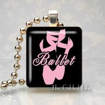 BALLET DANCE - PINK TOE SHOES - Scrabble Pendant Charm - $8.95