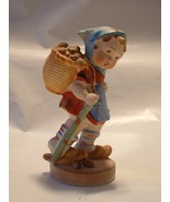 Vintage Porcelain Ceramic Figurine Child with Walking Stick and Pack Basket - $12.00