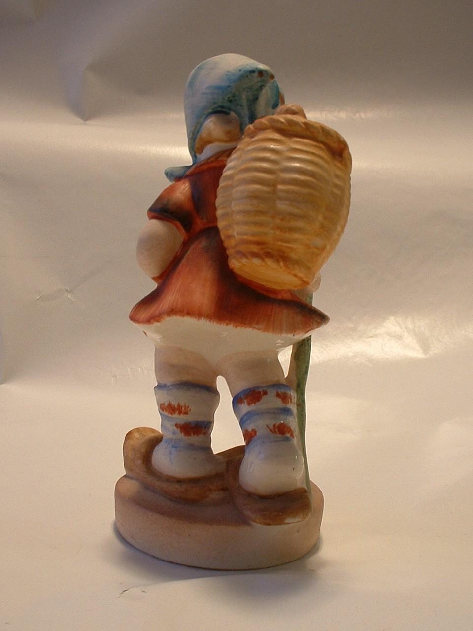 Vintage Porcelain Ceramic Figurine Child with Walking Stick and Pack Basket