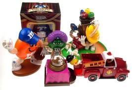 M&M Dispenser Set 5 Nutcracker Baseball Fortune Teller Golf Fire Truck B... - $60.49
