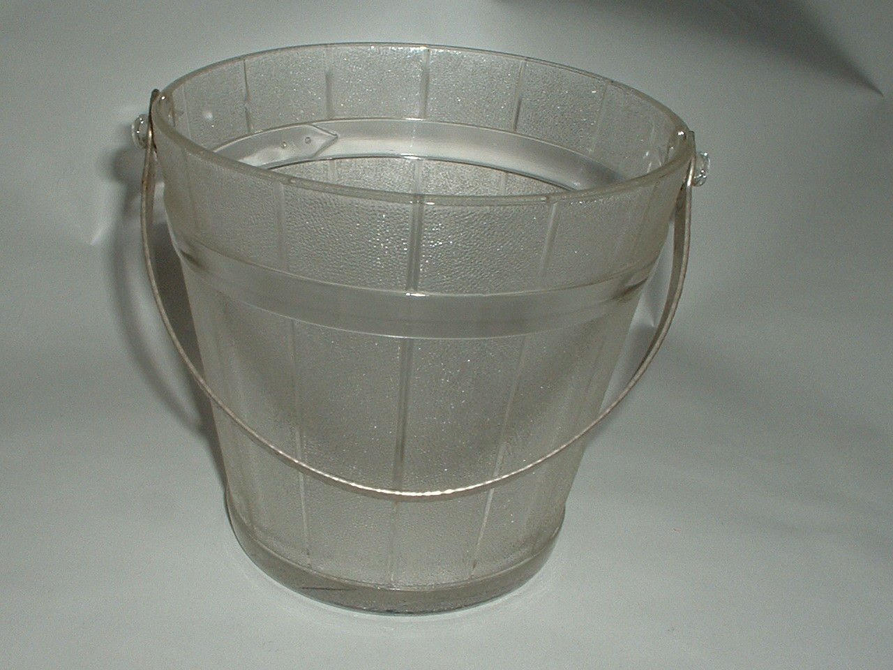 Vintage Glass Ice Bucket with Hammered Aluminum Handle