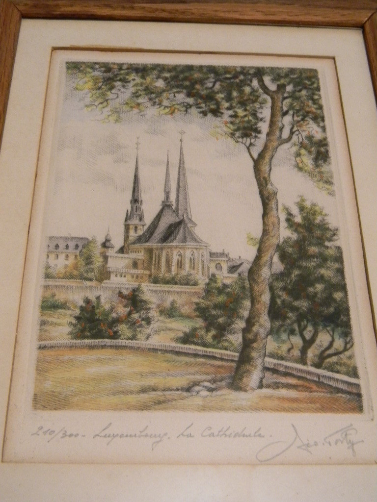 Vintage Etching of Luxembourg Cathedral, signed by artist