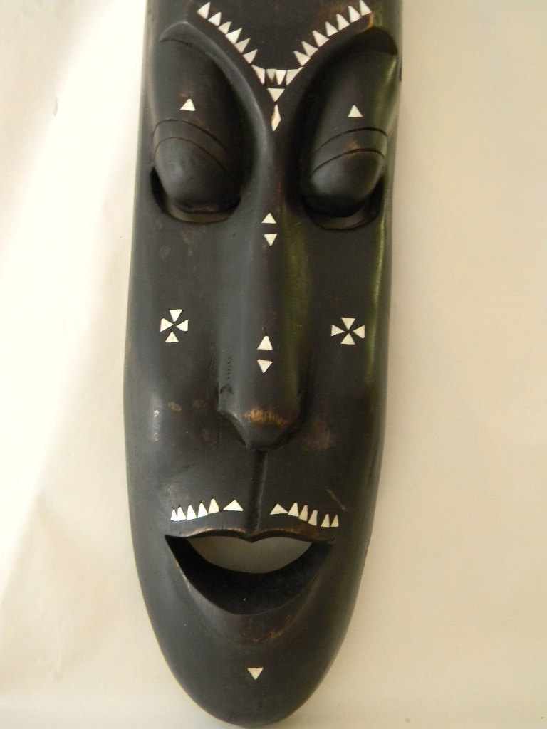 "Vintage Wood Carved 19 3/8"" Mask with Mother of Pearl & Brass Inlay"