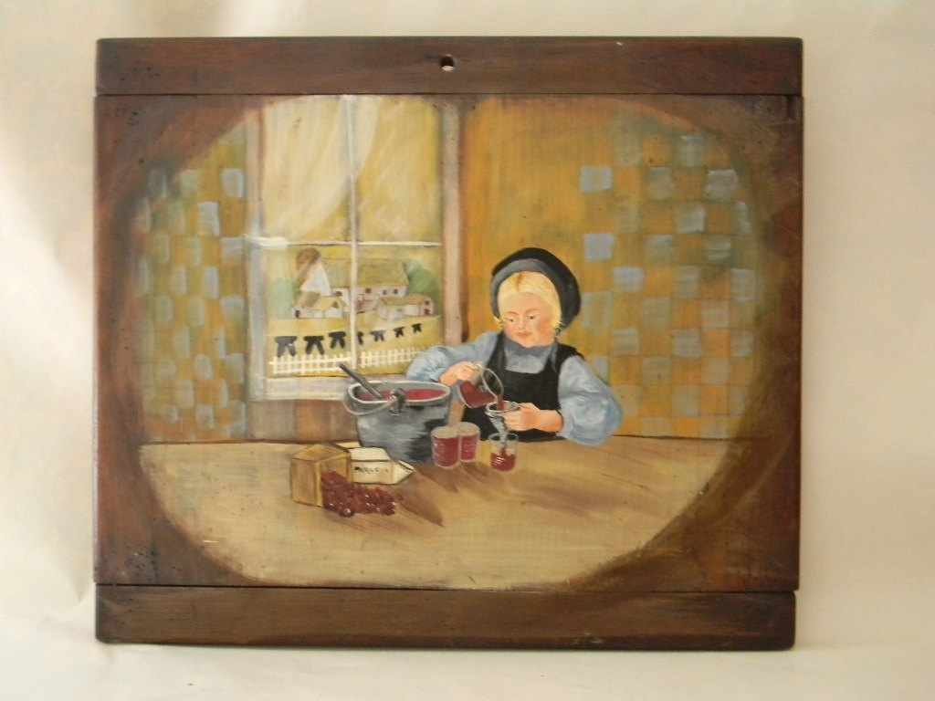 Vintage Folk Art Wall Hanging Signed by Artist Nancy Miller