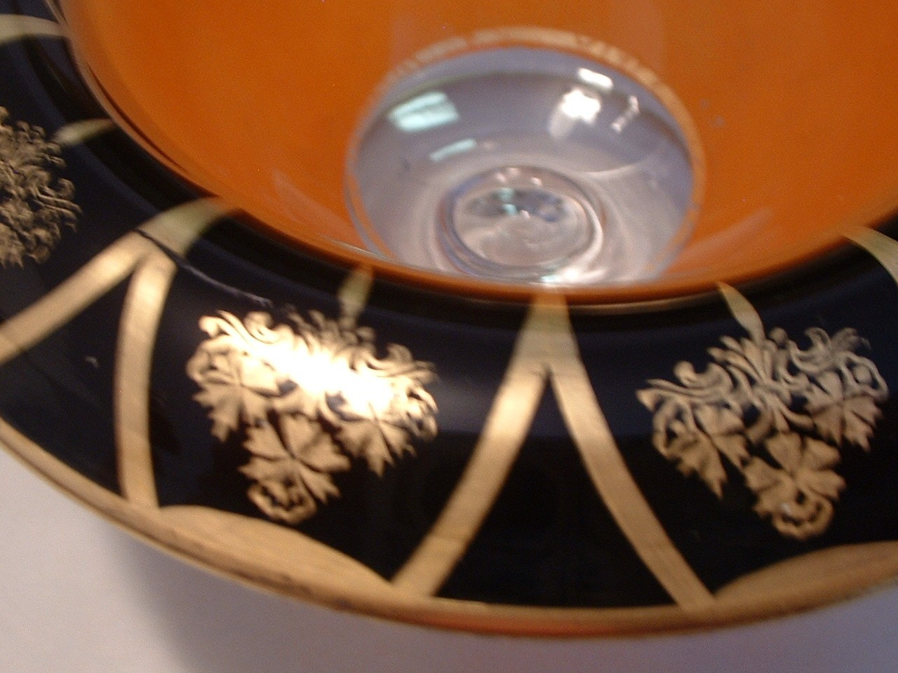 Vintage Depression Glass Footed Bowl with Rolled Rim  Black and Gold Trim