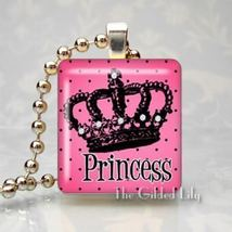 PRINCESS CROWN - HOT PINK - Scrabble Tile Pendant Charm - $8.95