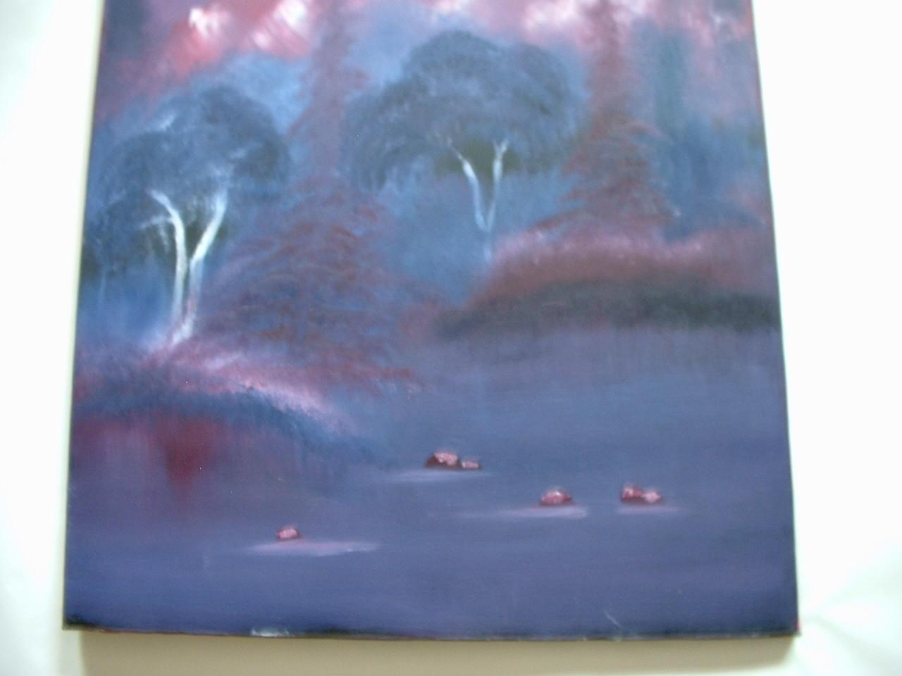 Vintage Oil on Canvas Painting Landscape Mountains