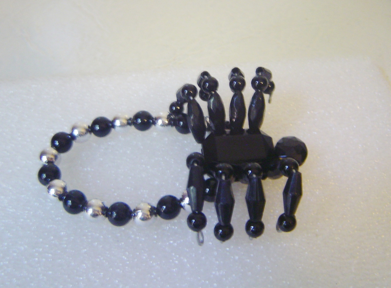 Spider Bracelet Black Crystal Beaded Stretch Band