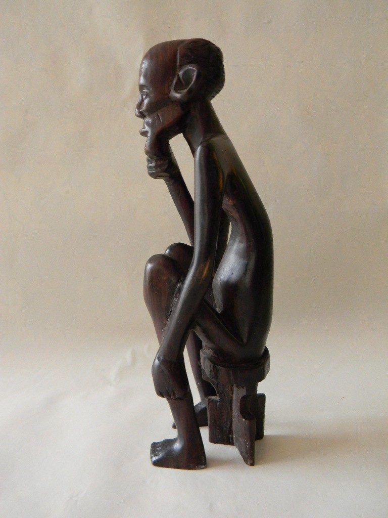 Vintage Hand Carved Wood Sculpture Naked Man