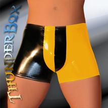 Thunderbox Golden Yellow & Black Harlequin PVC Shorts S-M-L-XL - $25.00