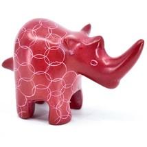 Tabaka Chigware Hand Carved Kisii Soapstone Red Rhinoceros Figure Made Kenya