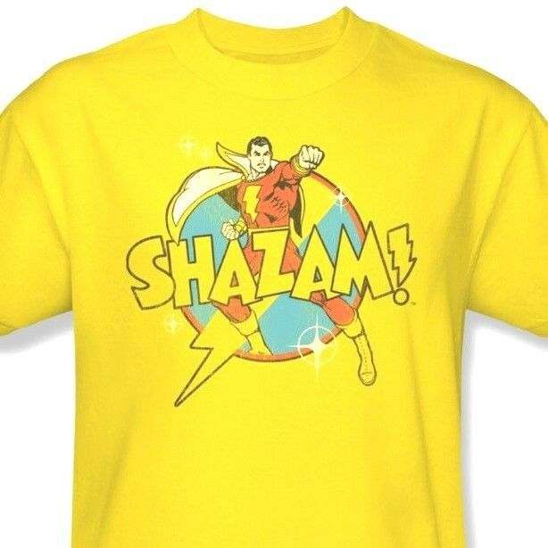 Shazam Bolt T-shirt Free Shipping DC Captain Marvel retro distressed tee DCO141C