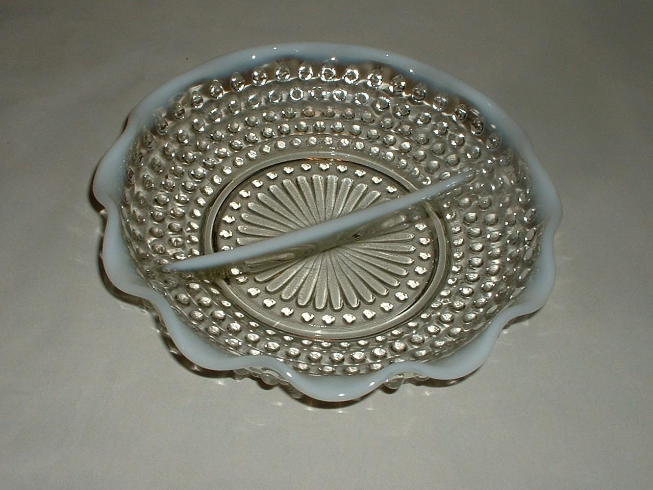 Vintage Moonstone Opalescent Hobnail Divided Dish