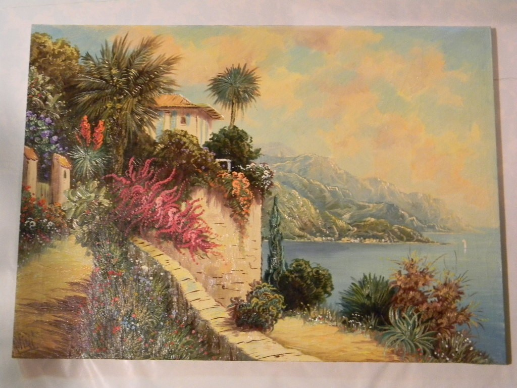 "Vintage 20"" x 28"" Oil on Canvas by artist Rofini Villa Seascape"