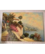 "Vintage 20"" x 28"" Oil on Canvas by artist Rofini Villa Seascape - $350.00"