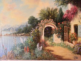 """Vintage Colorful Villa by the Sea 20"""" x 28"""" O/C by artist Rofini - $350.00"""