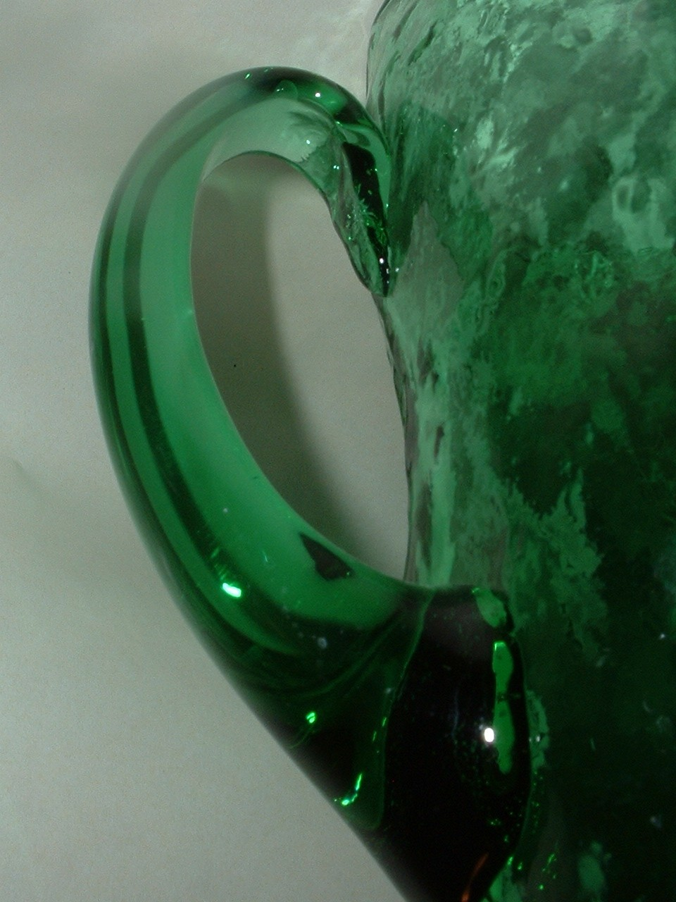 Vintage Heavy Green Glass 6 1/2 Inch Pitcher