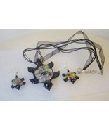 Murano Glass Turtle Black Necklace & Earrings Set  - $10.00