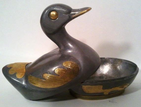 Pewter and Brass Duck Small Vintage Trinket Box