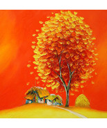 """Orange tree in village 02, a 24"""" x 24"""" original oil painting by Phuo - $139.00"""