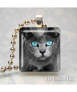 KITTY CAT WITH BLUE EYES - Scrabble Tile Pendant Charm - $8.95
