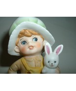 Vintage Cute Barefoot Child with Rabbit Porcelain Figurine - $12.00
