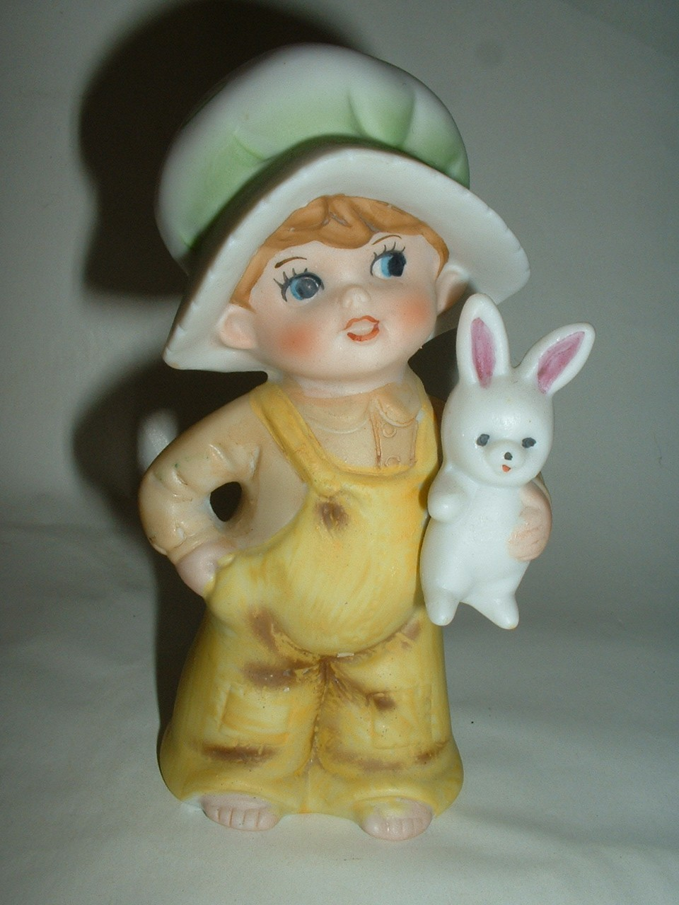 Vintage Cute Barefoot Child with Rabbit Porcelain Figurine