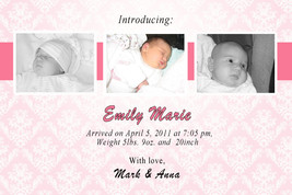 Baby Announcement Photo Cards Digital Boy Girl Blue Pink - $12.99
