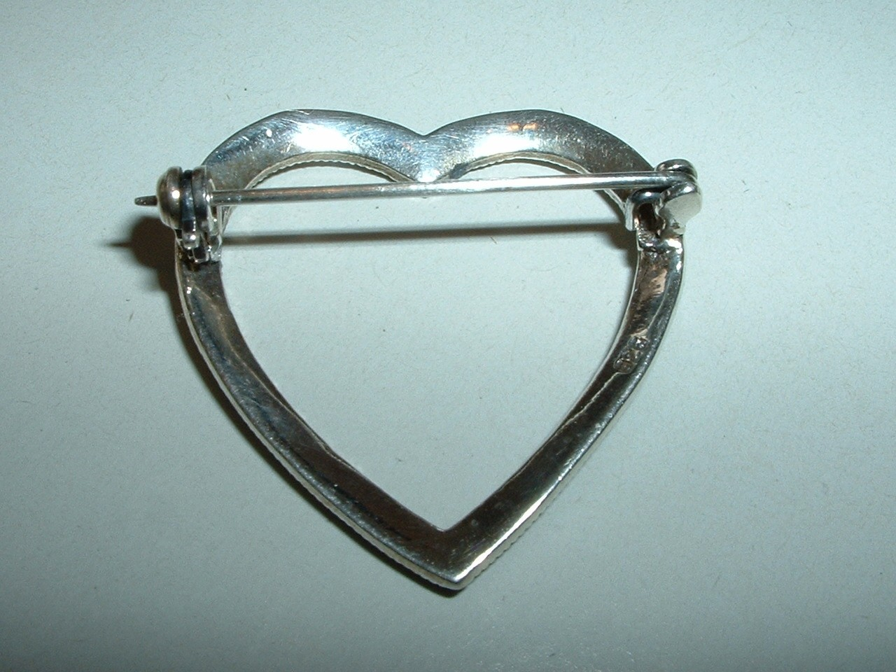 Sterling Silver and Marcasite Heart Pin
