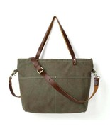 Sale, Waxed Canvas With Leather Tote, Women Shoulder Bag, Diaper Bag, Le... - $90.00