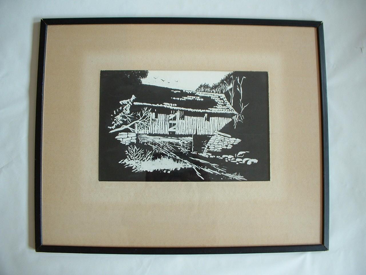 Vintage  Original Black & White Wood Bridge signed  LVH