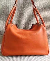 100% Authentic HERMES Taurillon Clemence Lindy 34 ORANGE Shoulder Bag PHW image 10