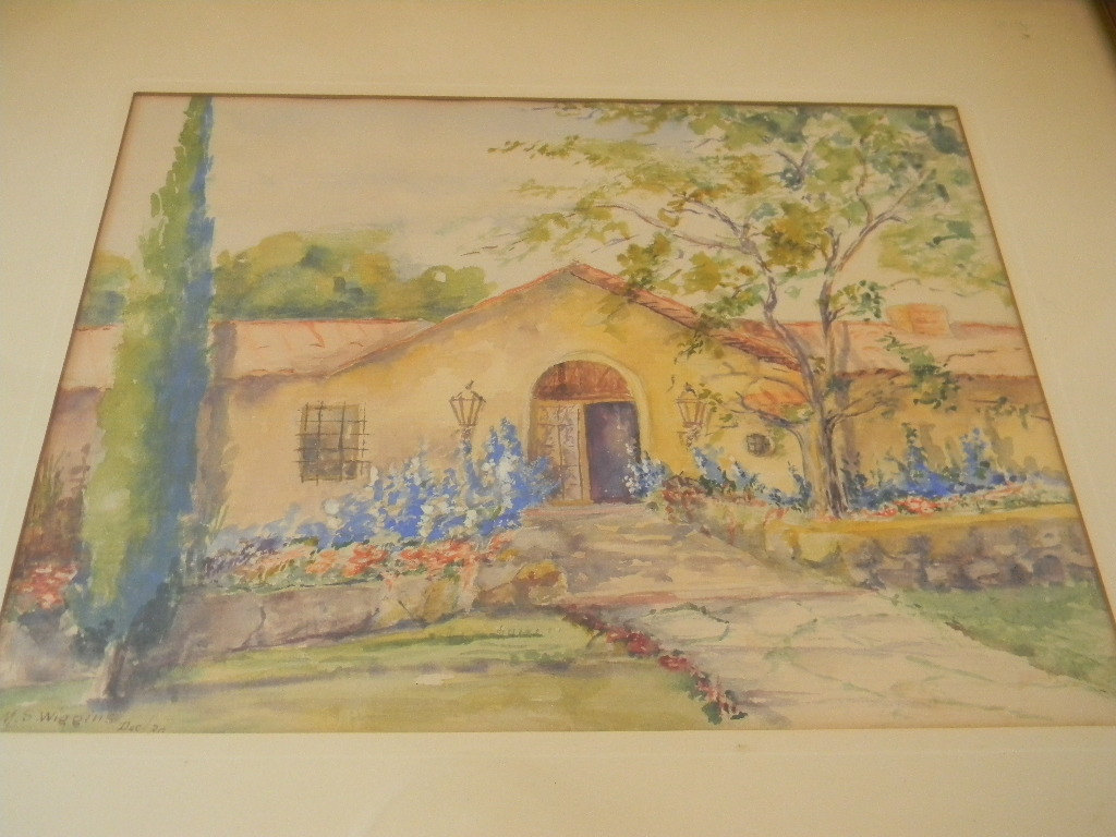 Vintage 1930 Watercolor by Artist M S Wiggins