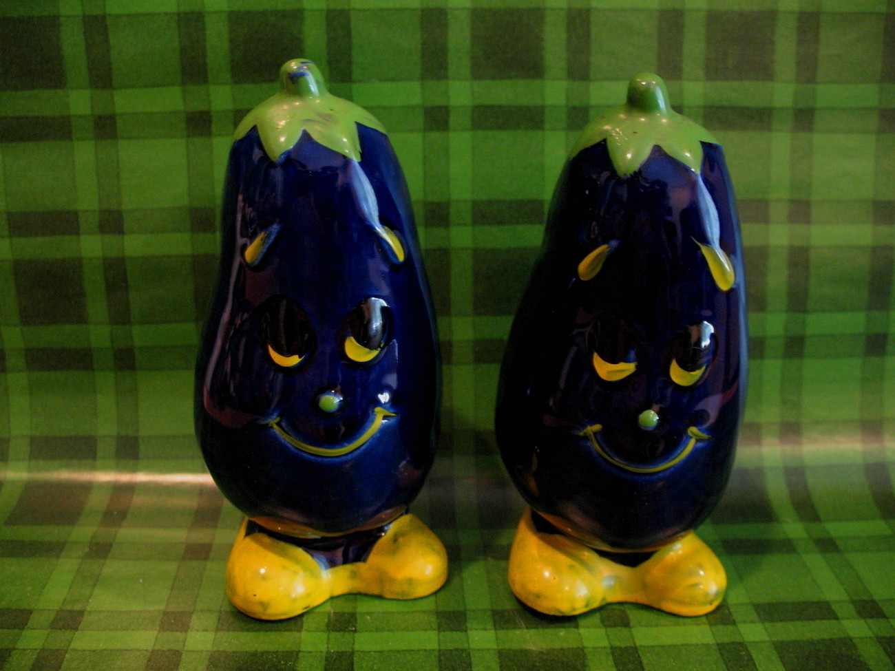 Anthropomorphic Vintage Eggplants Salt and Pepper Shakers Set Collector