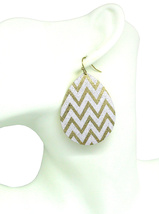Women new gold white glitter tear drop hook pierced earrings - $23.35 CAD