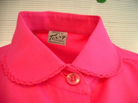 Beautiful Vintage Blouse Hot Pink..WOW