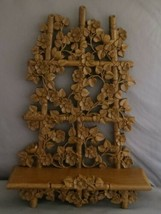 HOMCO Wall Shelf Plate Rack, 1984 Bamboo Vine Trellis Flowers, 9 1/2 x 1... - $20.00